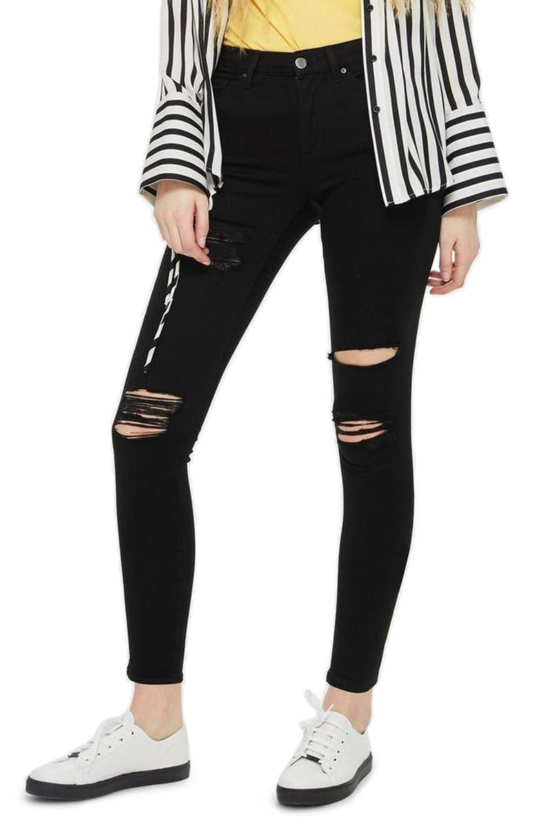 TOPSHOP MOTO Leigh Super Rip Jeans, Main, color, 001