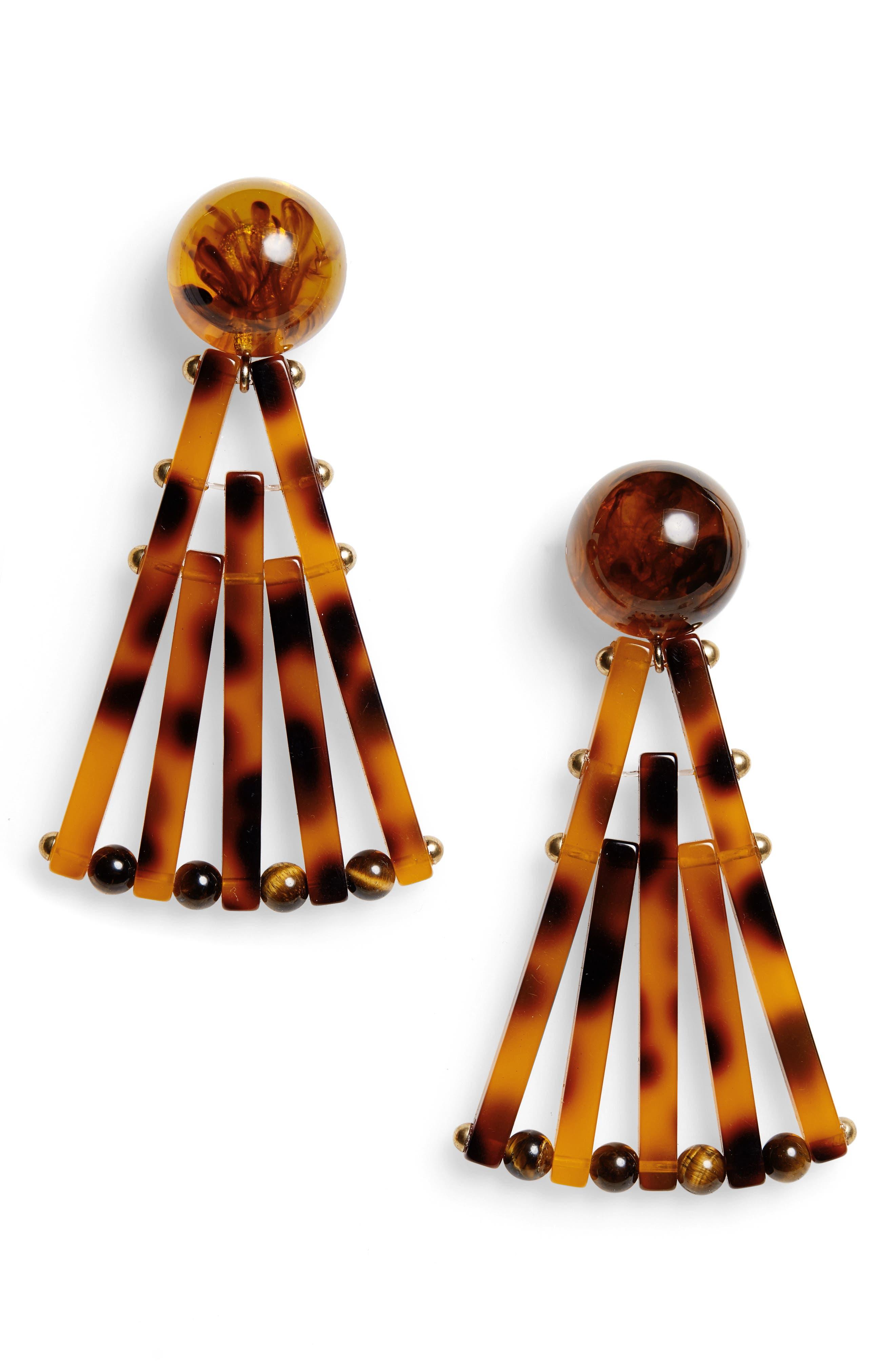 Acrylic Fan Earrings, Main, color, TORTOISE