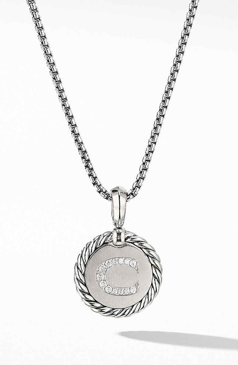 DAVID YURMAN Initial Charm Necklace with Diamonds, Main, color, SILVER/ DIAMOND-C