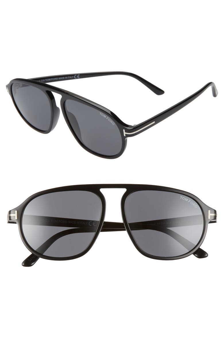 TOM FORD Harrison 57mm Navigator Sunglasses, Main, color, 018