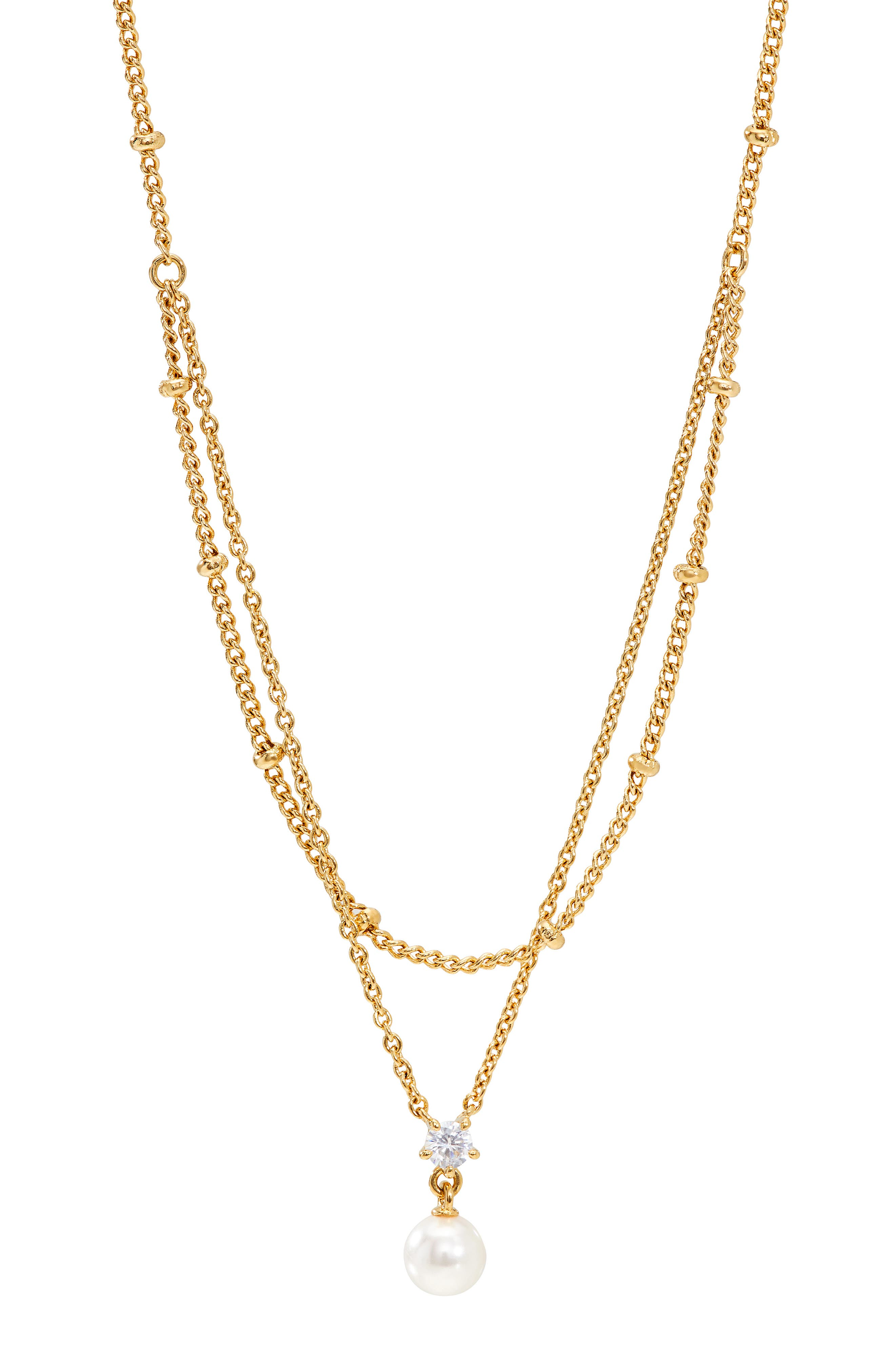 Imitation Pearl & Cubic Zirconia Layered Necklace