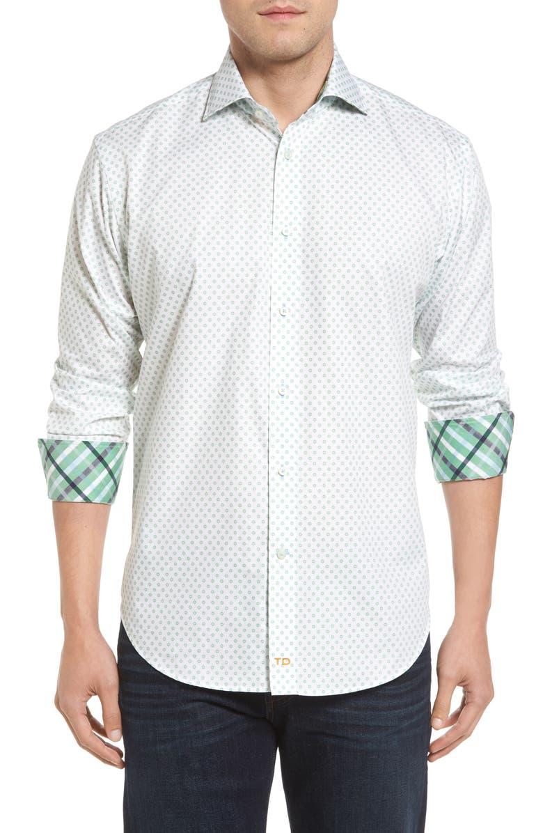 THOMAS DEAN Classic Fit Neat Floral Print Sport Shirt, Main, color, 300
