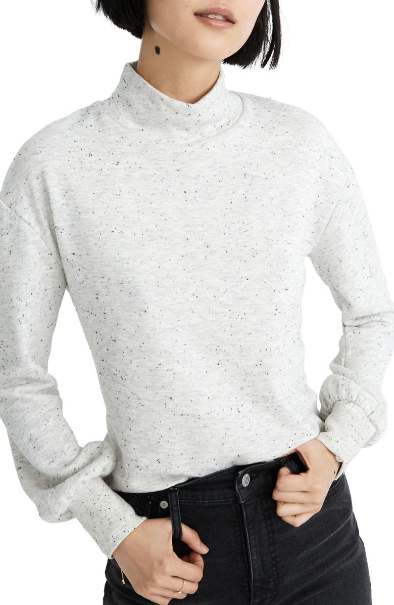 MADEWELL Donegal Mock Neck Bubble Sleeve Sweatshirt, Main, color, LIGHT GREY DONEGAL