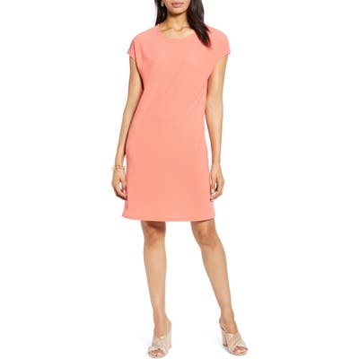 Petite Halogen Cap Sleeve Jersey Shift Dress, Coral