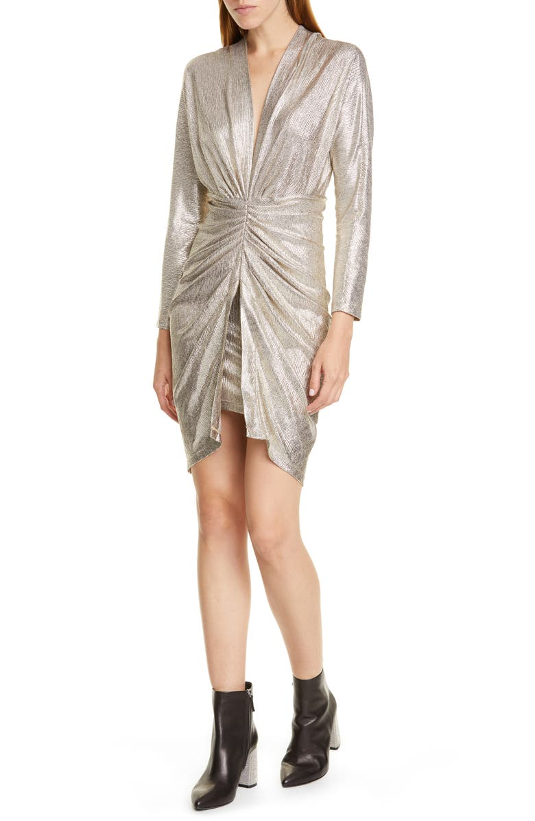 IRO Cilty Long Sleeve Body-Con Dress, Main, color, GOLD