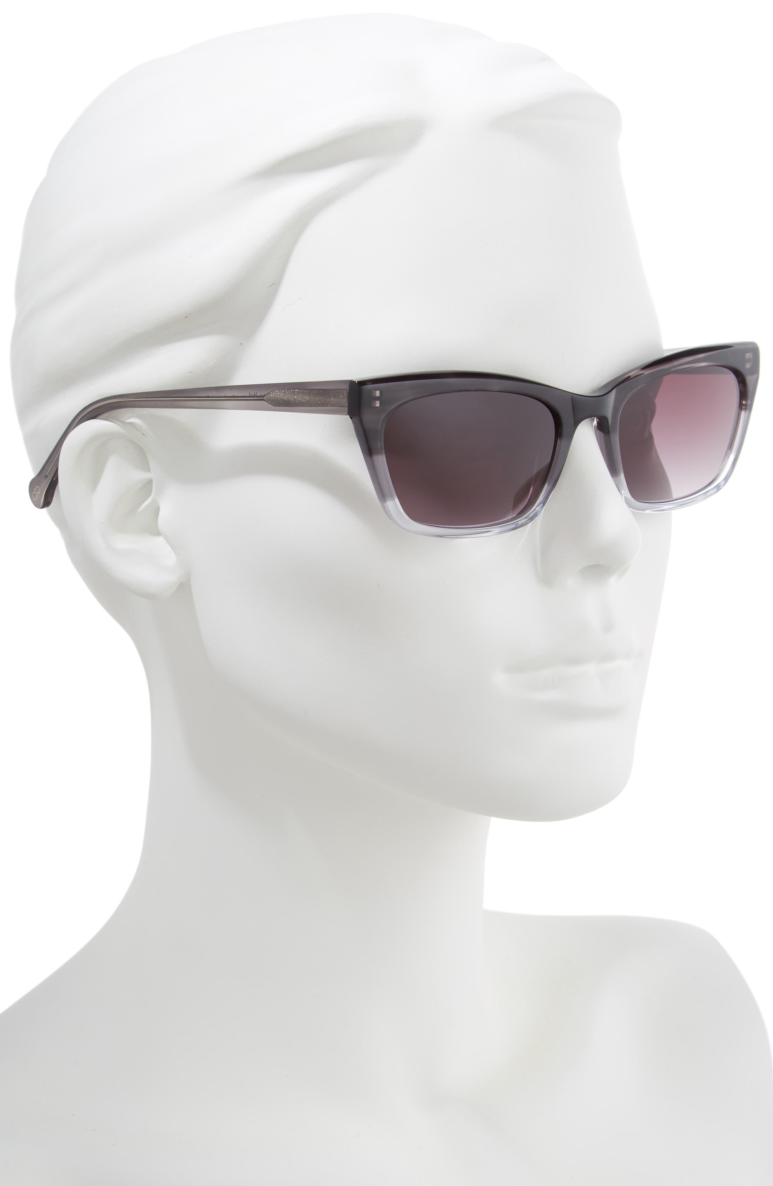 ,                             Brickell 55mm Gradient Cat Eye Sunglasses,                             Alternate thumbnail 2, color,                             BLACK FADE/ GREY