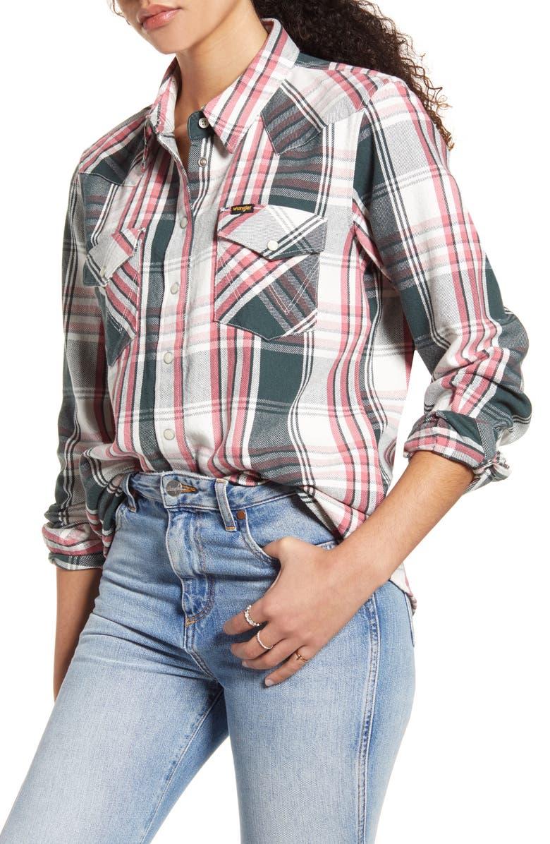 WRANGLER Boyfriend Long Sleeve Western Plaid Shirt, Main, color, PINE