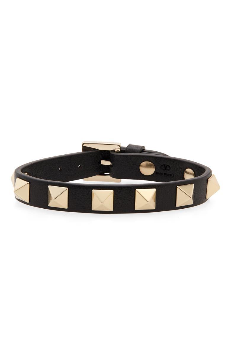VALENTINO Rockstud Leather Bracelet, Main, color, 001
