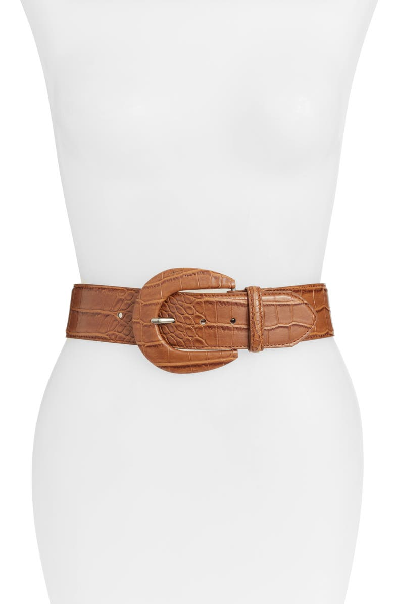 SOMETHING NAVY Croc Embossed Faux Leather Belt, Main, color, COGNAC