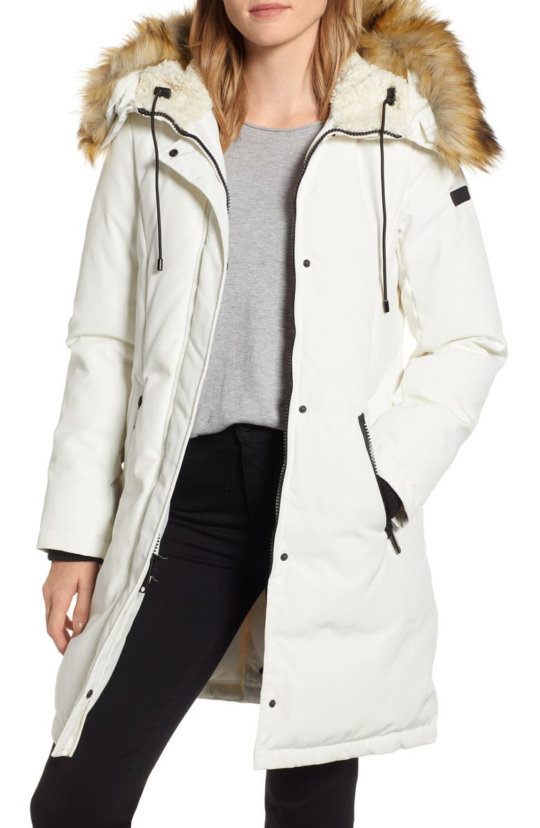 SAM EDELMAN Faux Fur Trim Down Parka, Main, color, WHITE