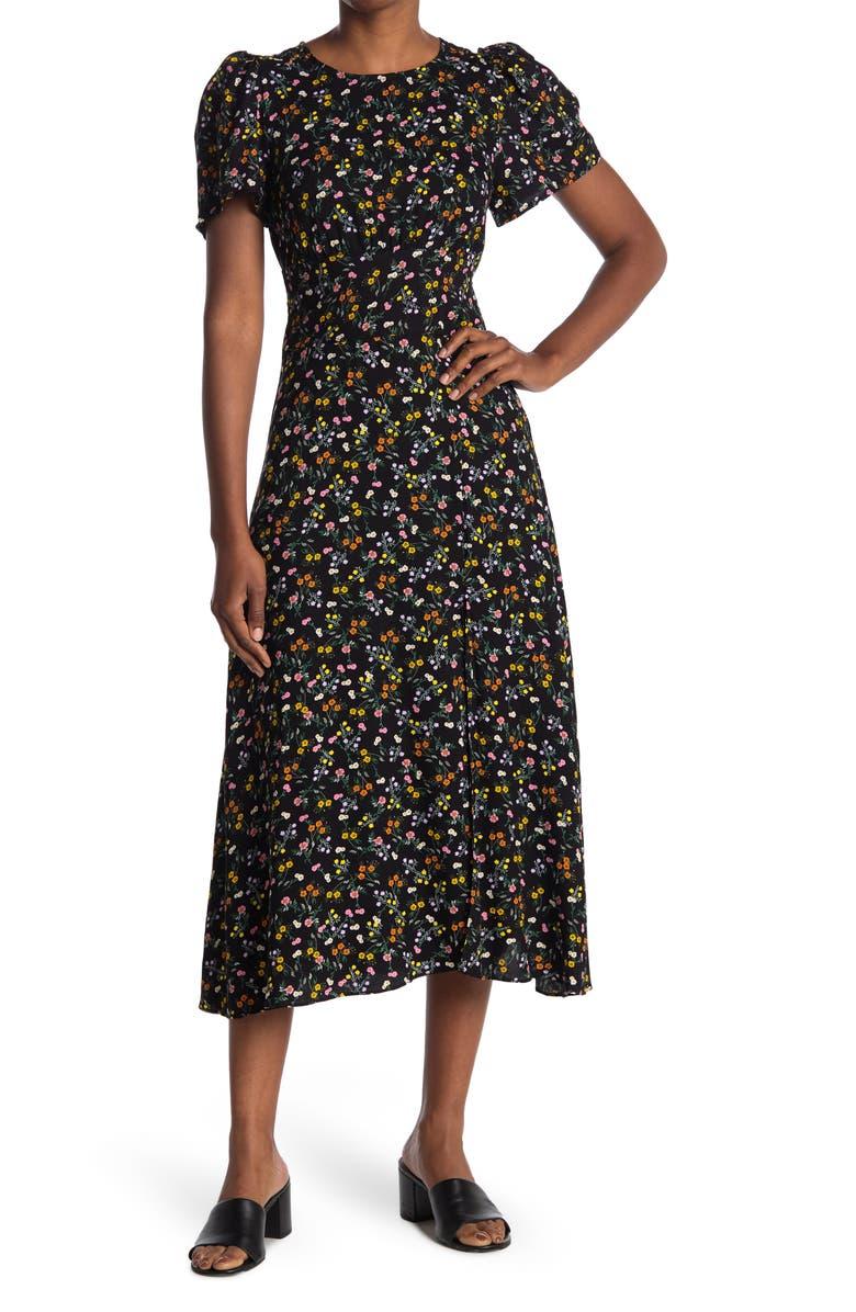 AFRM Jamie Print Open Back Short Sleeve Dress, Main, color, 089