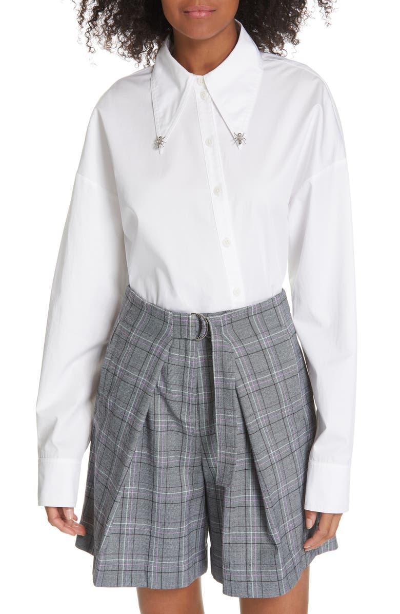 TIBI Ant Beaded Tech Poplin Shirt, Main, color, WHITE