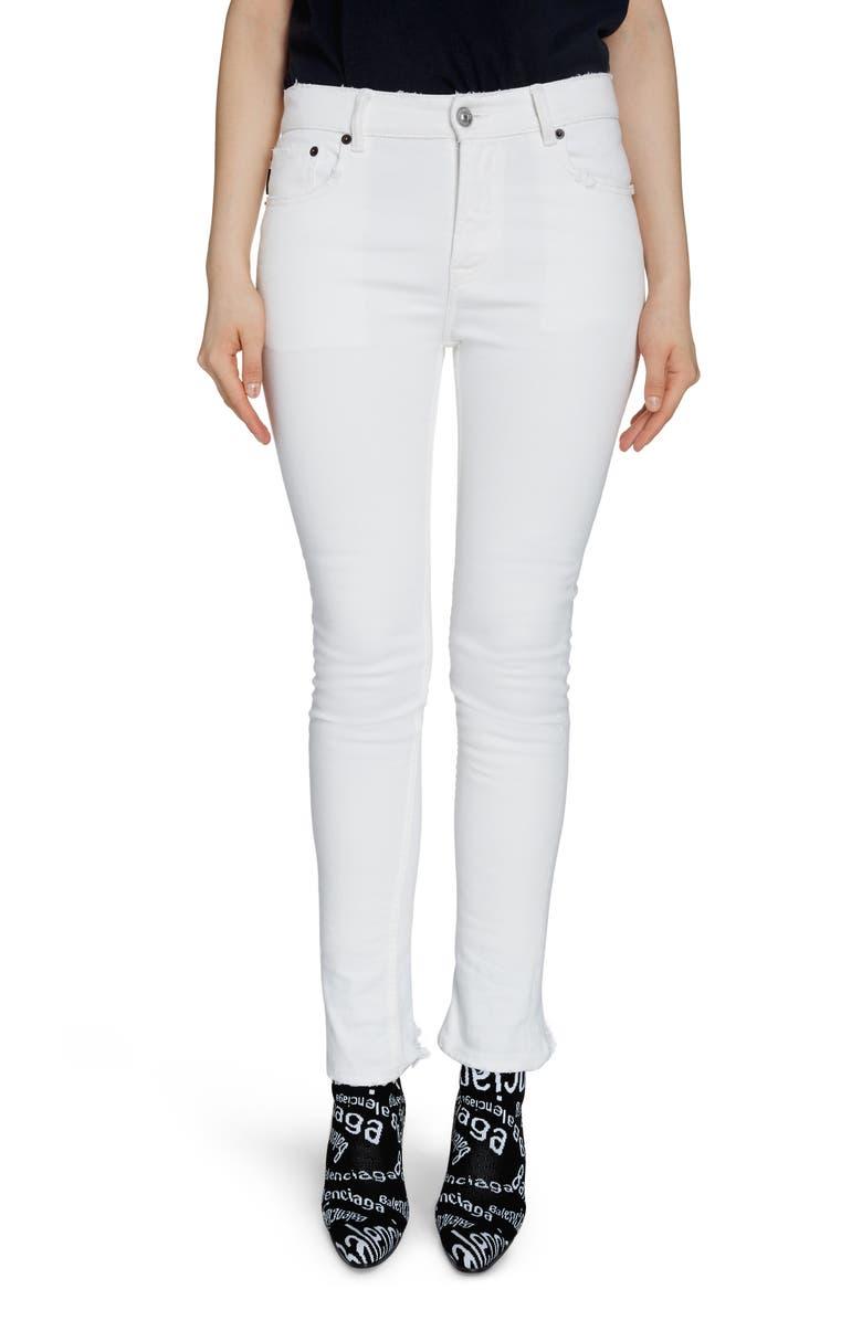 BALENCIAGA Fray Hem Skinny Jeans, Main, color, STONEWASH WHITE