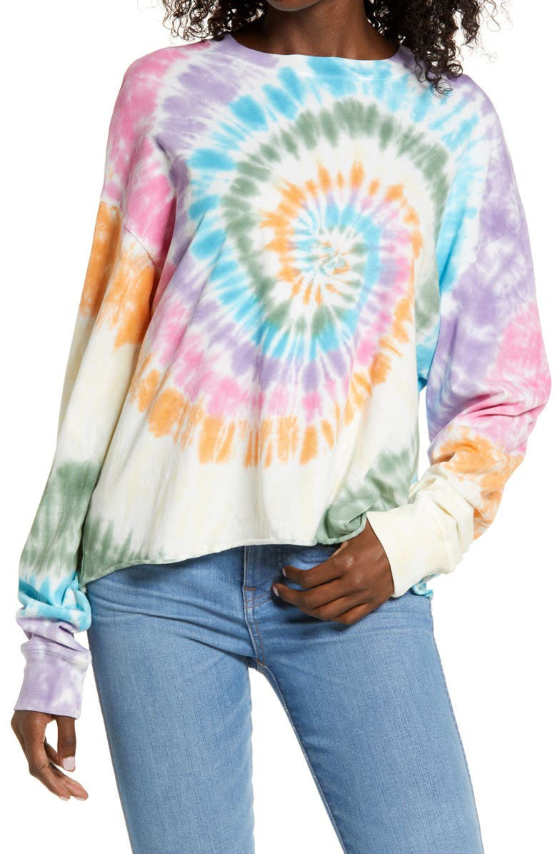 DAYDREAMER Rainbow Tie Dye Long Sleeve T-Shirt, Main, color, RAINBOW SPIRAL