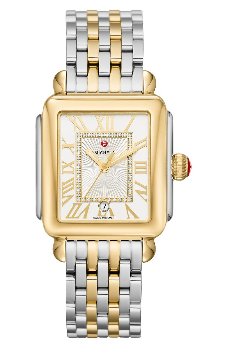 MICHELE Deco Madison Diamond Dial Watch Head & Bracelet, 33mm, Main, color, GOLD/ SILVER