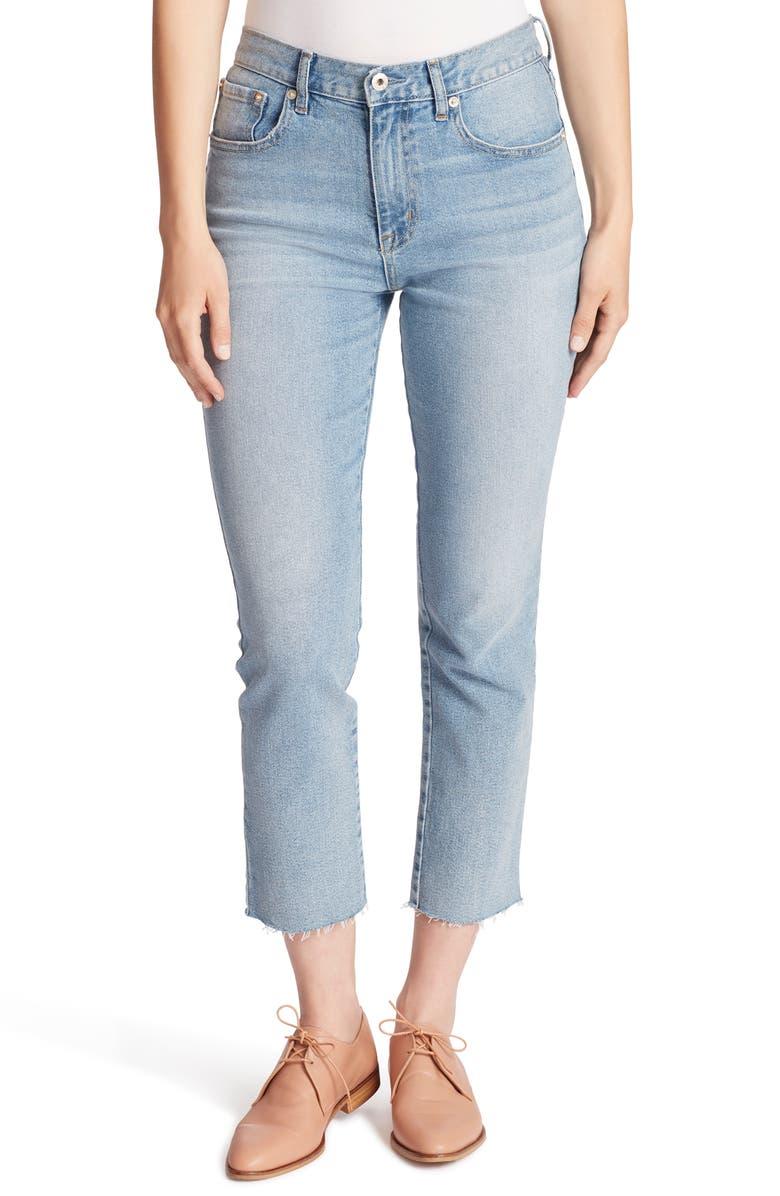 ELLA MOSS High Waist Slim FIt Crop Jeans, Main, color, LUNA