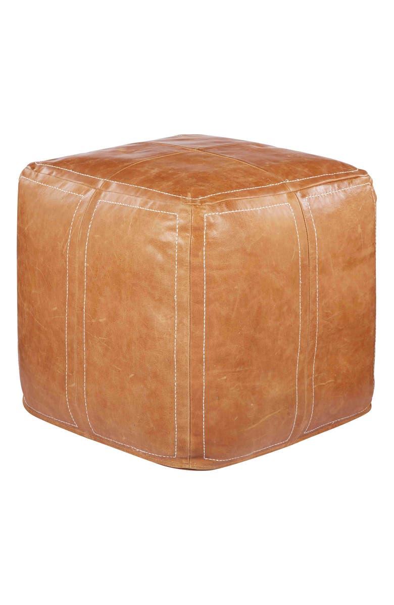 JAIPUR Leather Accent Pouf, Main, color, 200