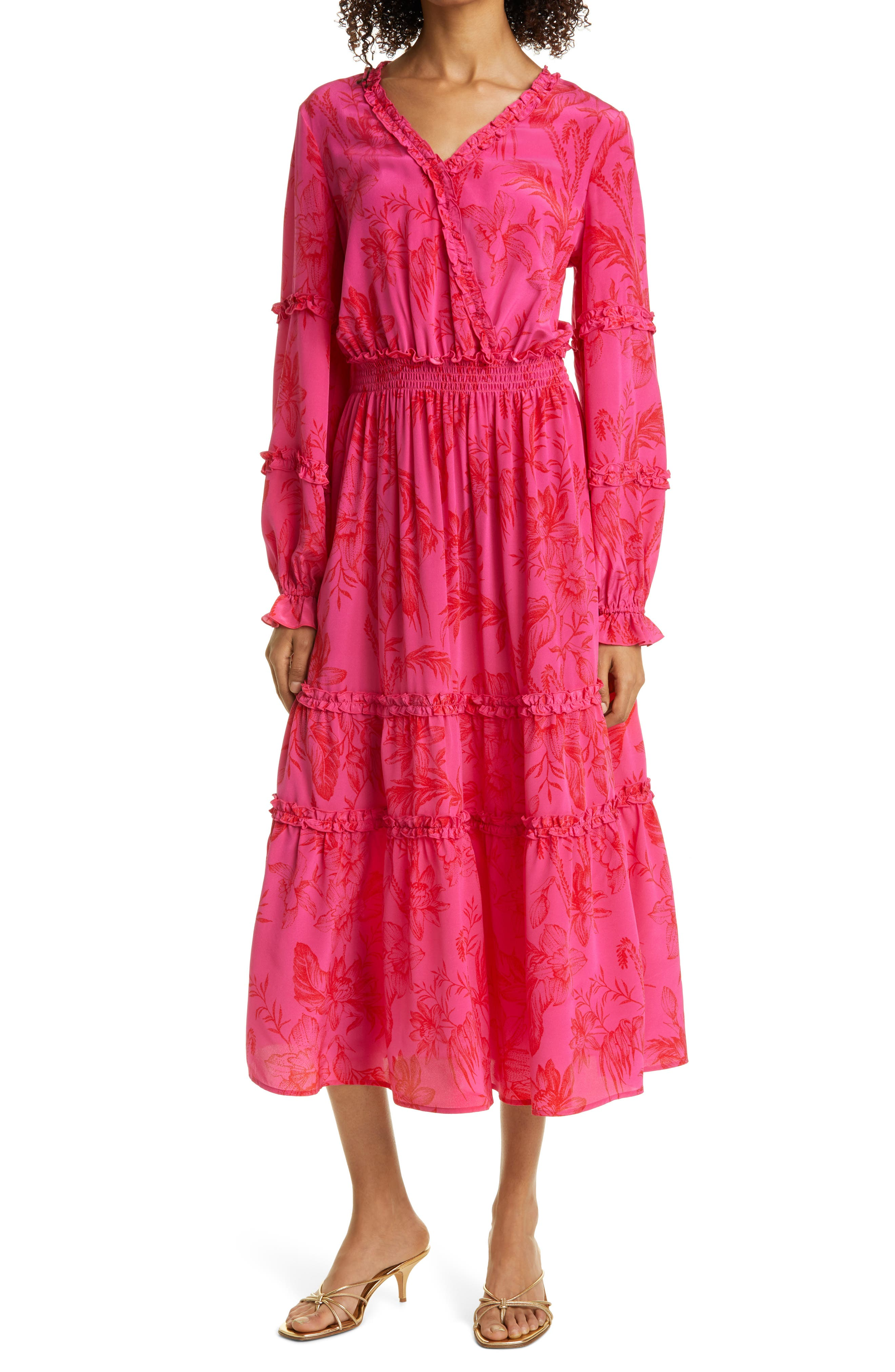 Floral Long Sleeve Ruffle Silk Maxi Dress