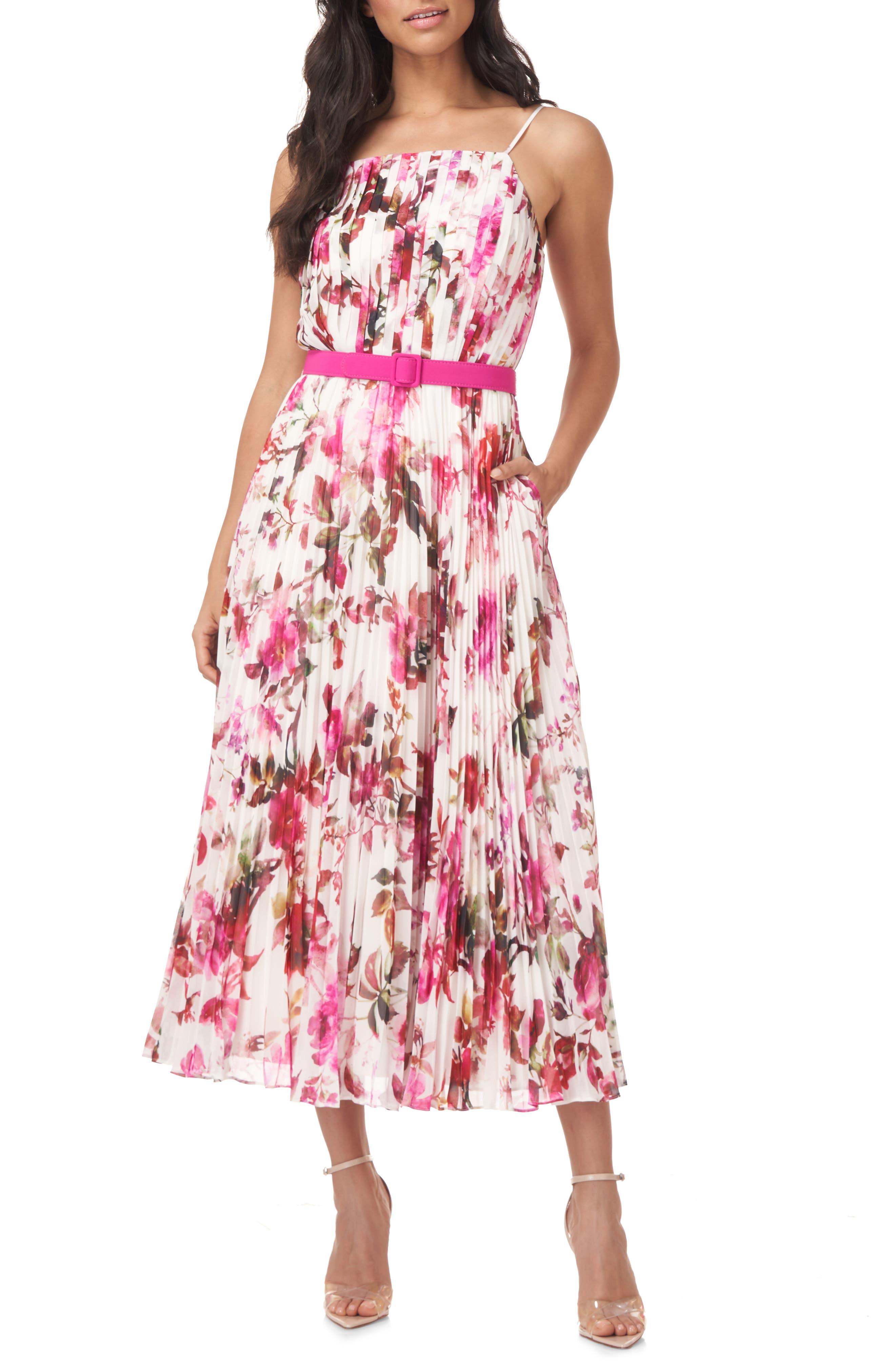 Sia Floral Pleated Midi Dress