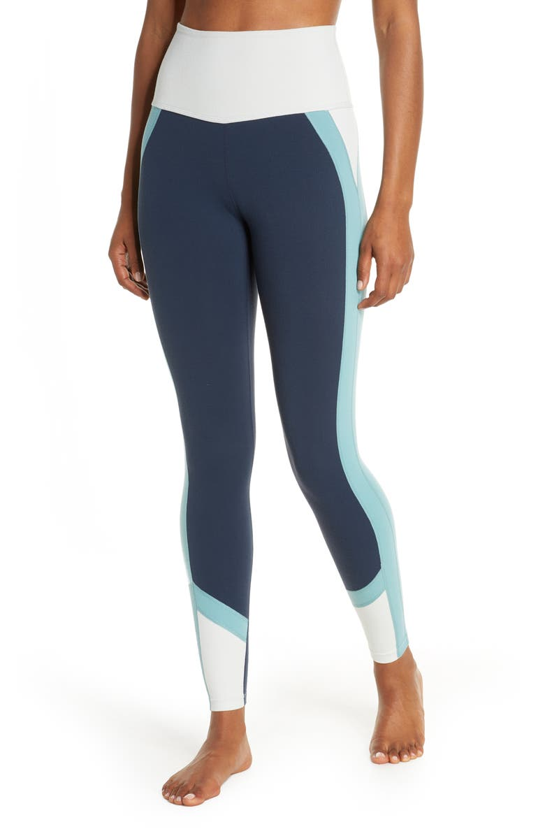 BEYOND YOGA Colorblock High Waist Leggings, Main, color, NOCTURNAL NAVY