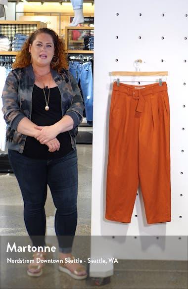 Larsen Belted Linen Blend Crop Pants, sales video thumbnail