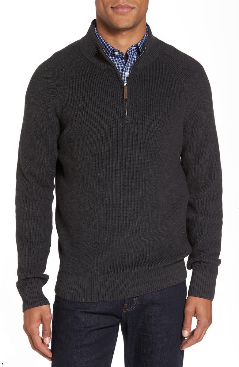 NORDSTROM MEN'S SHOP Ribbed Quarter Zip Sweater, Main, color, 021