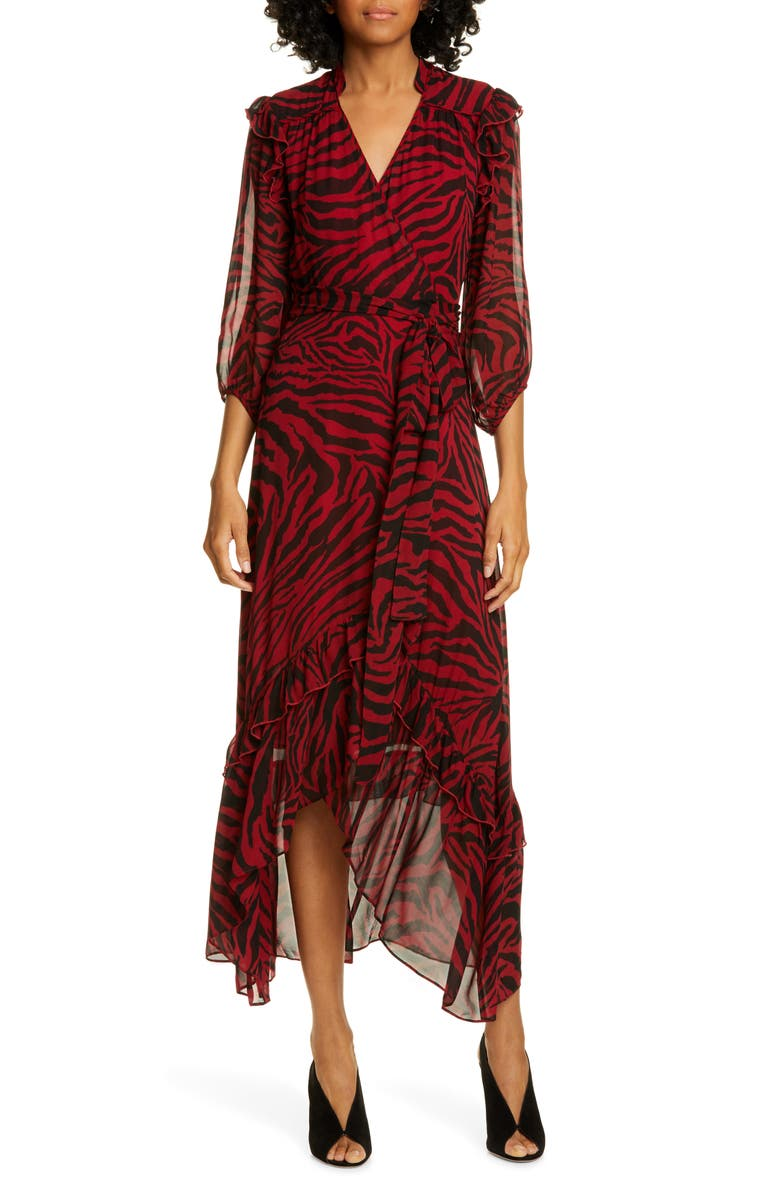 BA&SH Selena Animal Print Ruffle Detail Midi Wrap Dress, Main, color, RED