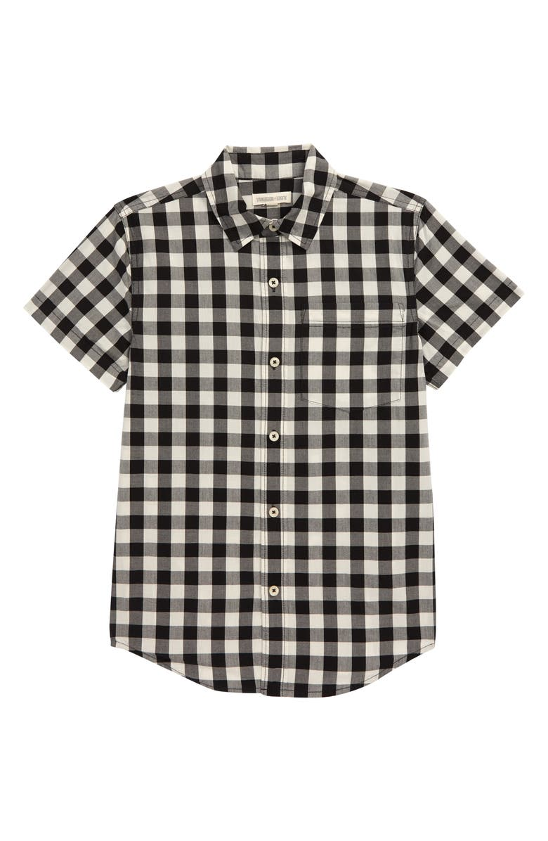 TUCKER + TATE Print Poplin Woven Shirt, Main, color, IVORY EGRET- BLACK CHECK