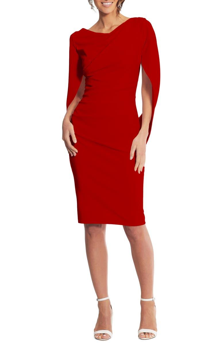 BETSY & ADAM Drape Back Scuba Crepe Cocktail Dress, Main, color, RED