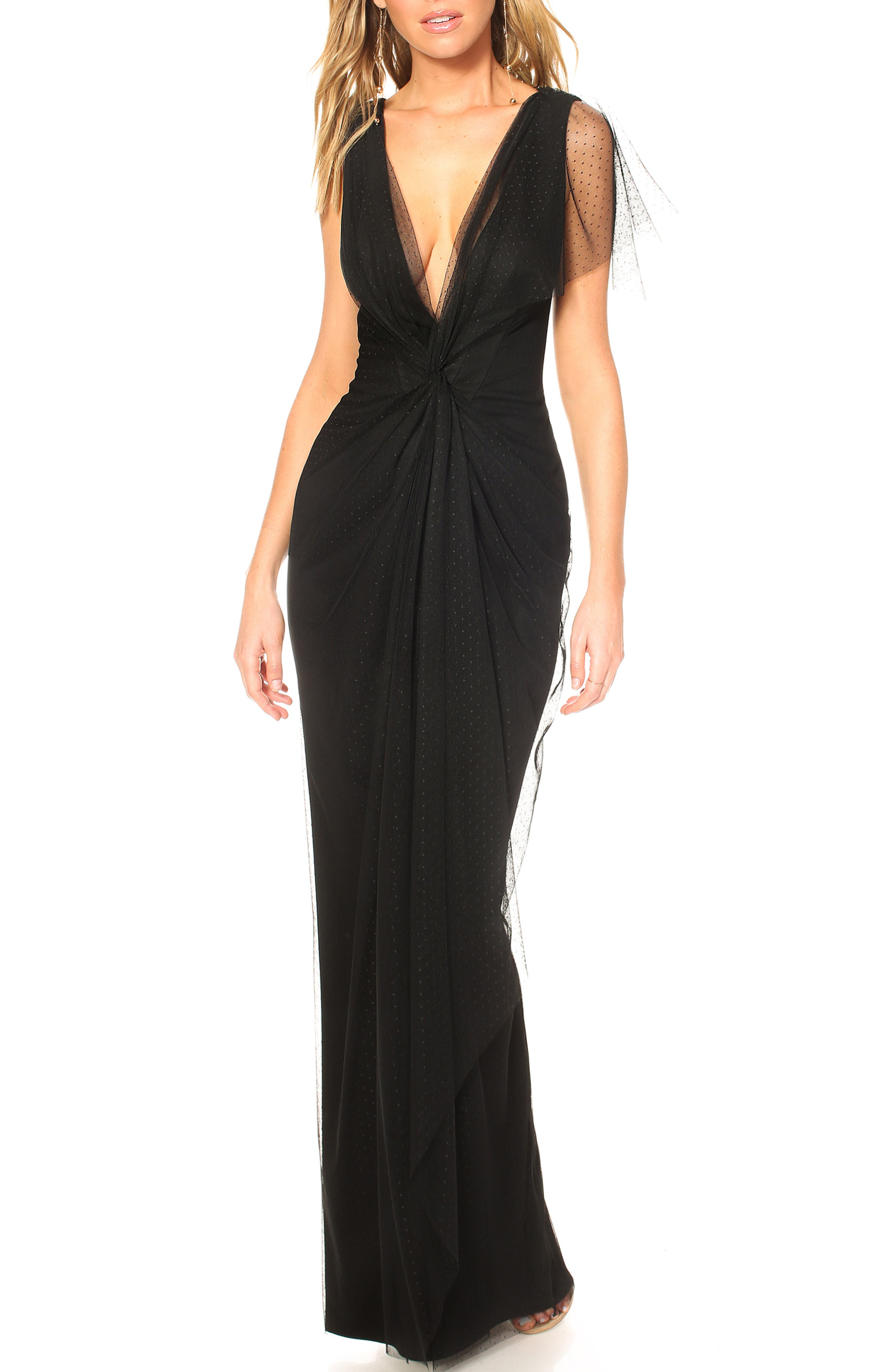 Katie May Olivia Plunge Neck Gown, Black