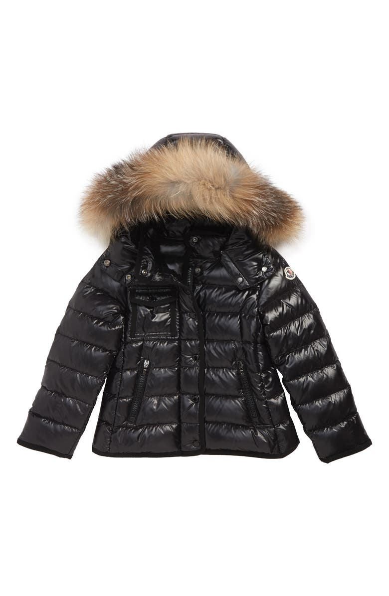 MONCLER Armoise Hooded Down Jacket with Genuine Fox Fur Trim, Main, color, BLACK