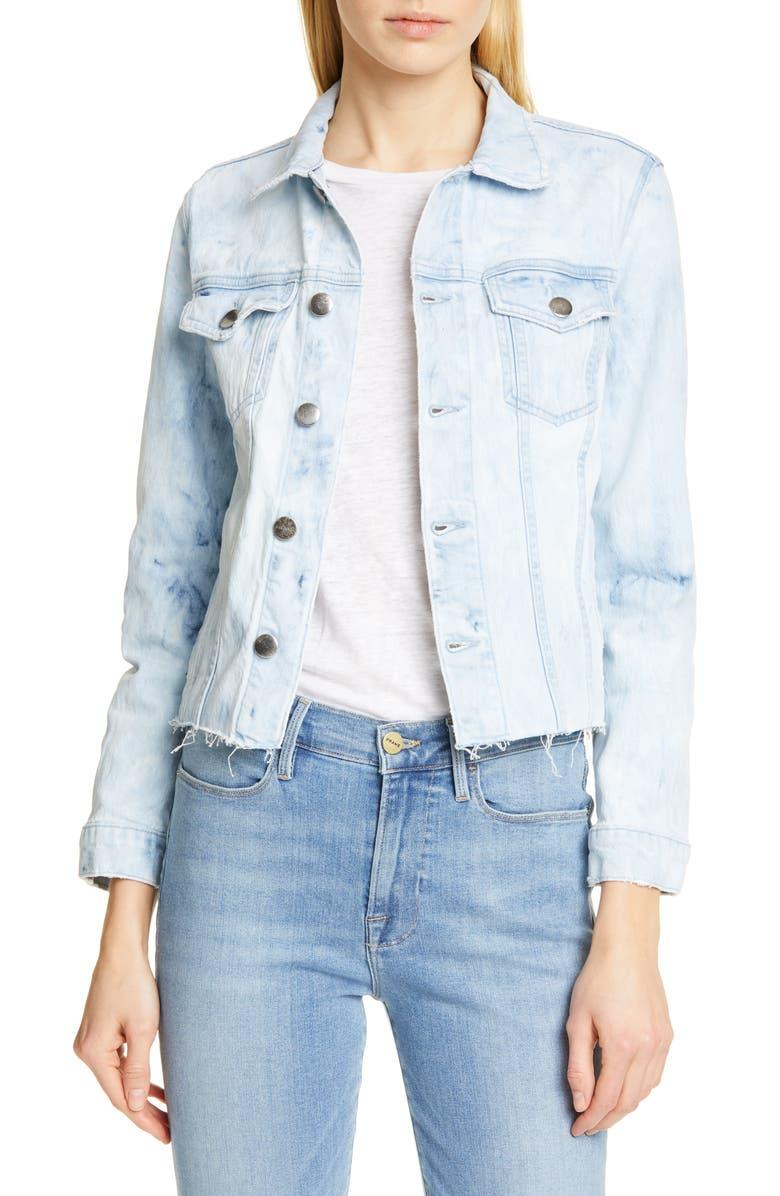 FRAME Raw Hem Denim Jacket, Main, color, CLOUD