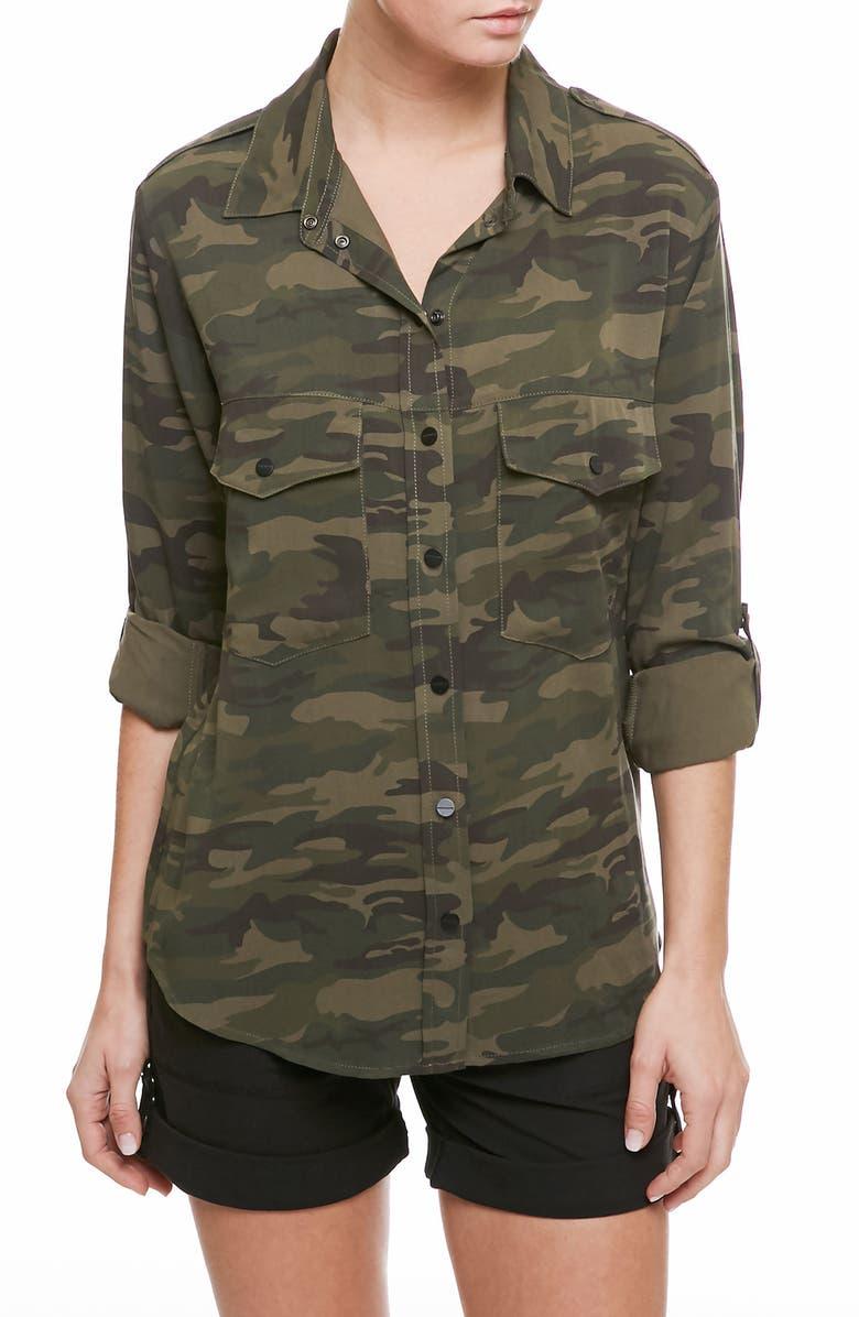 SANCTUARY Camo Print Boyfriend Shirt, Main, color, 304