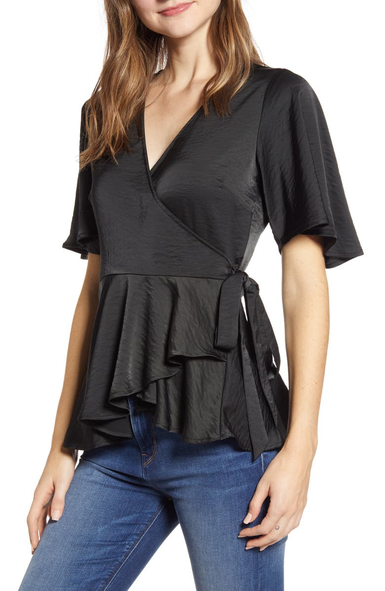 BOBEAU Angel Flutter Sleeve Wrap Blouse, Main, color, BLACK