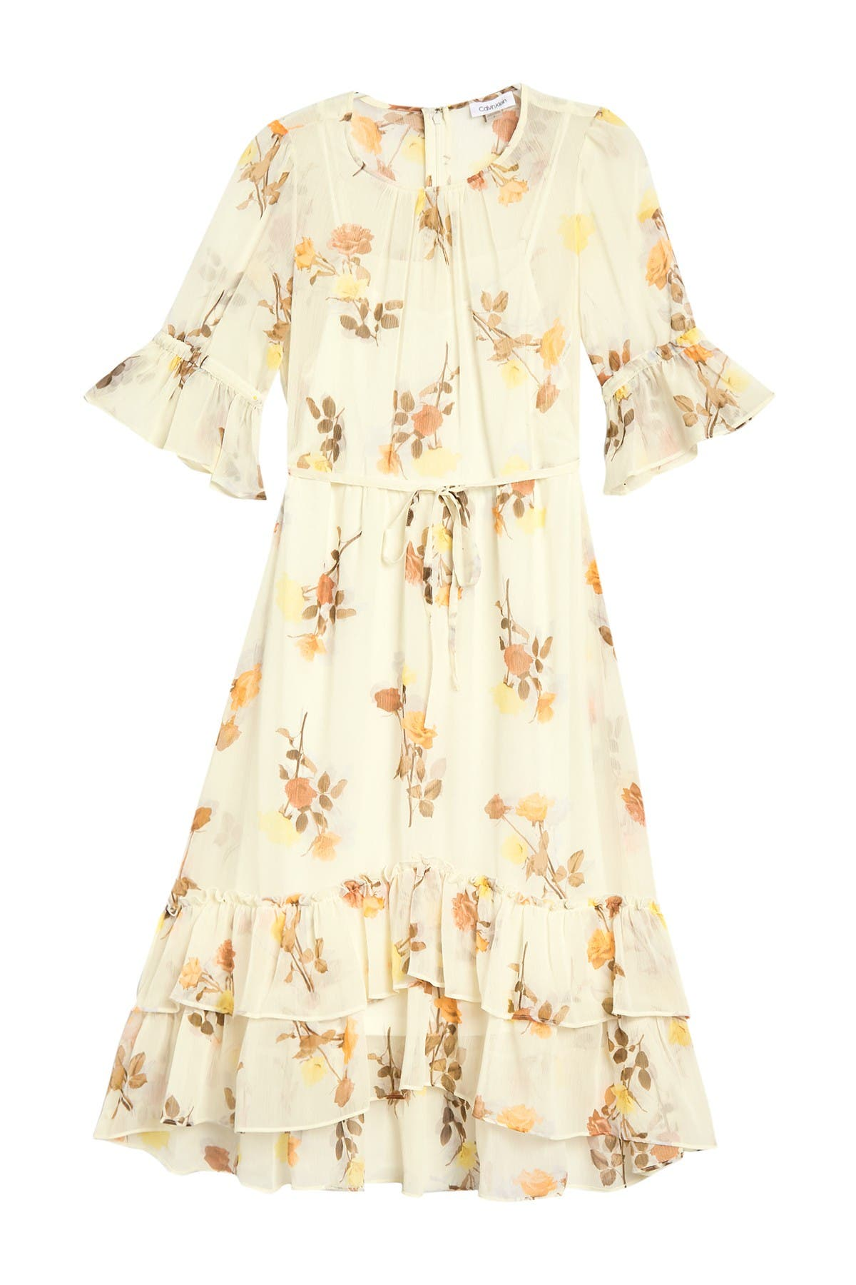 Image of Calvin Klein Floral 3/4 Sleeve Ruffled Chiffon Dress