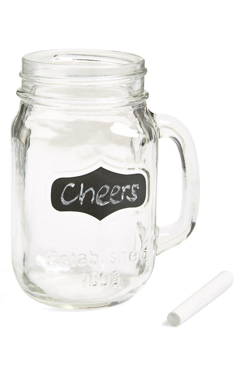 CIRCLE GLASS 'Yorkshire' Chalkboard Mason Jar Mugs, Main, color, 960