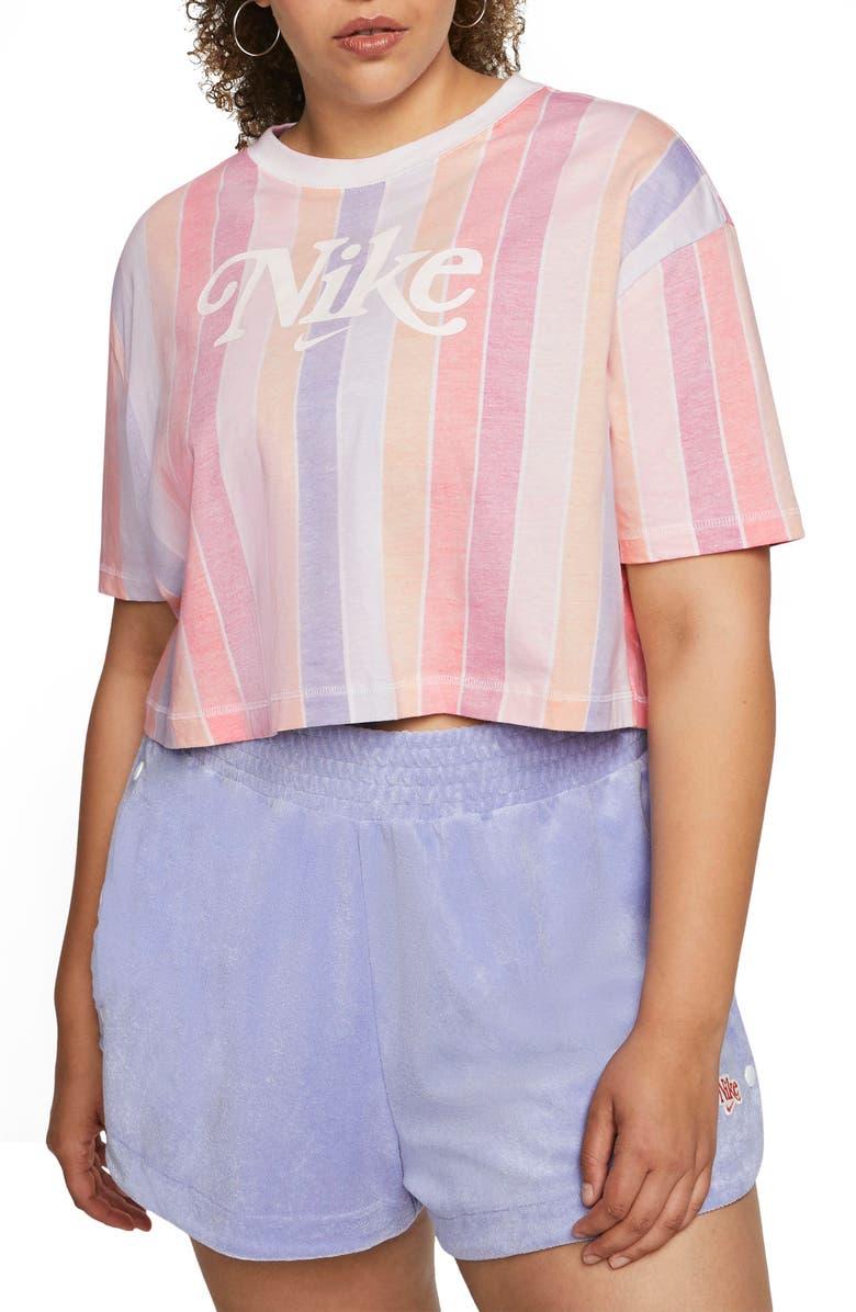 NIKE Sportswear Stripe Crop Top, Main, color, WHITE