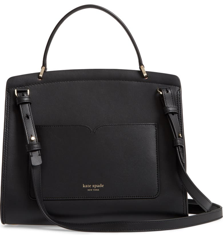 KATE SPADE NEW YORK medium romy leather satchel, Alternate, color, BLACK