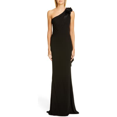 Badgley Mischka One-Shoulder Trumpet Gown, Black