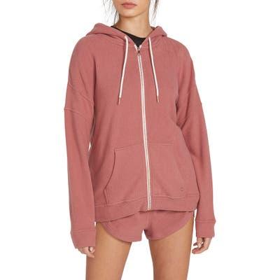 Volcom Lil Zip Front Fleece Hoodie, Pink