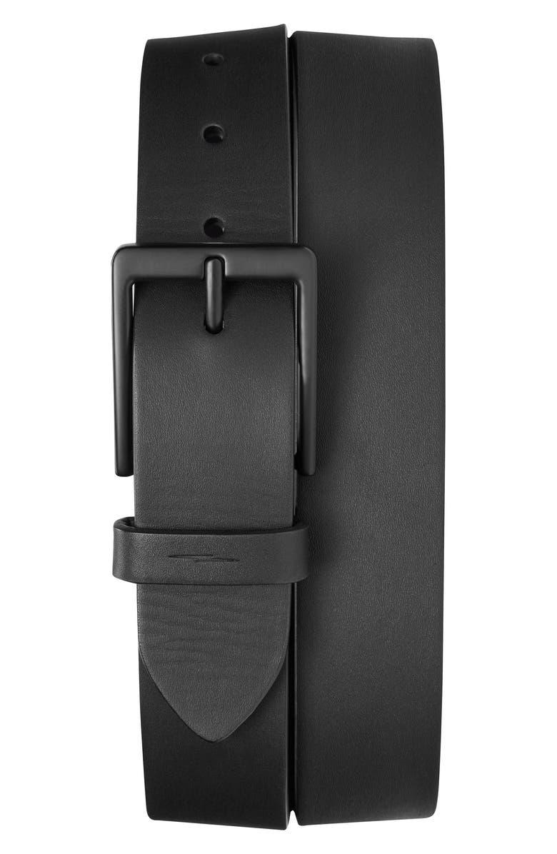 SHINOLA Lightning Bolt Keeper Leather Belt, Main, color, BLACK