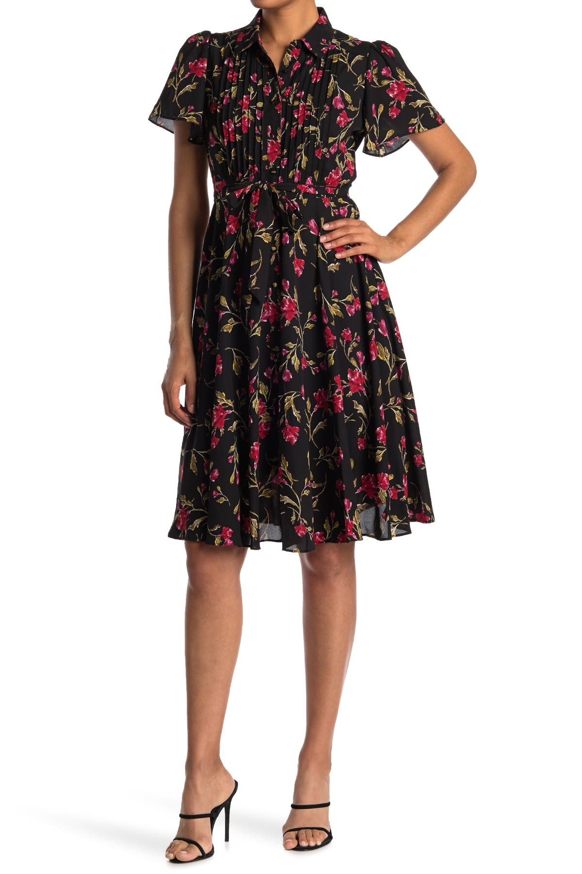 Image of NANETTE nanette lepore Flutter Sleeve Floral Print Pintuck Shirt Dress