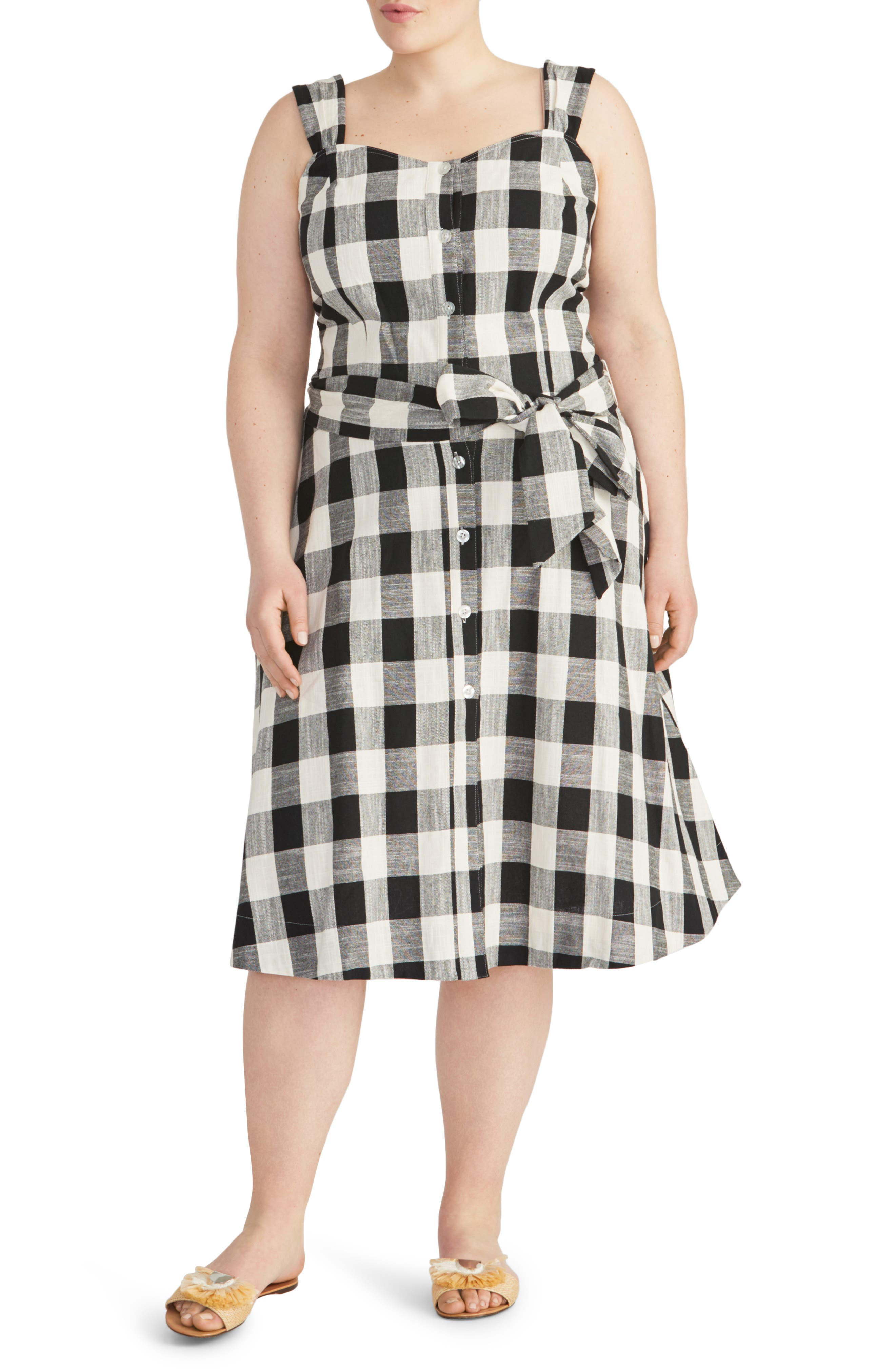 Plus Size Rachel Roy Collection Check Print Sundress, Ivory