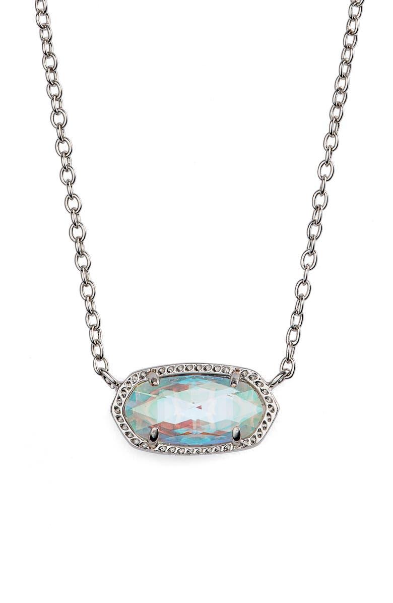 KENDRA SCOTT Elisa Birthstone Pendant Necklace, Main, color, RHODIUM DICHROIC GLASS