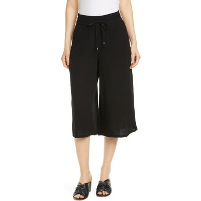 Petite Eileen Fisher Organic Cotton Culottes, Black