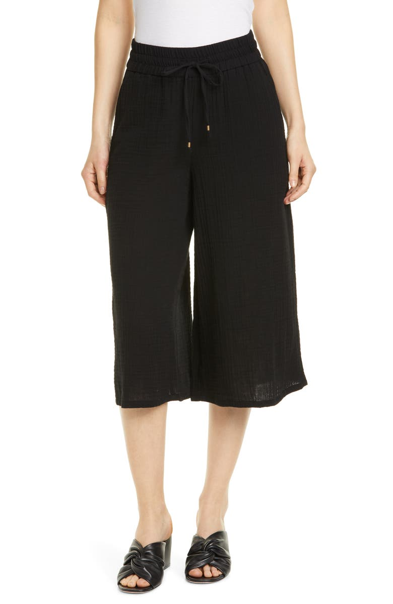 EILEEN FISHER Organic Cotton Culottes, Main, color, BLACK