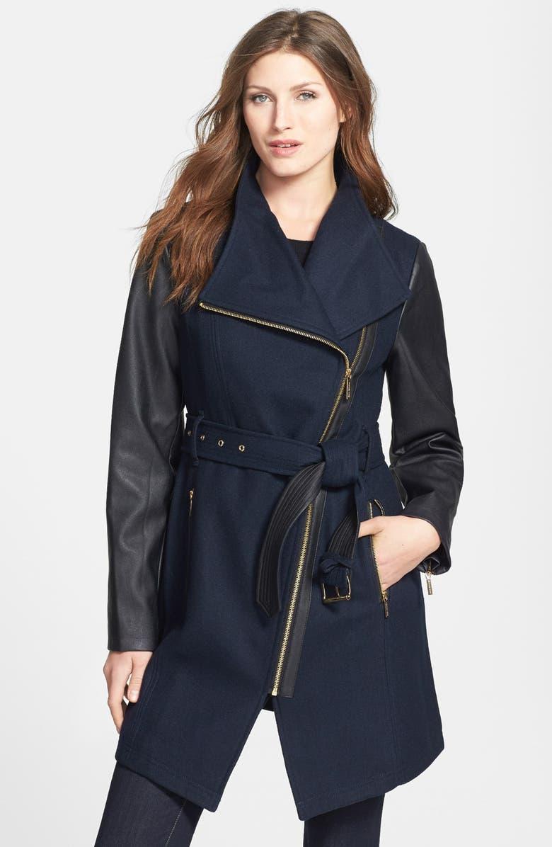MICHAEL MICHAEL KORS Wool Blend & Faux Leather Coat, Main, color, 410