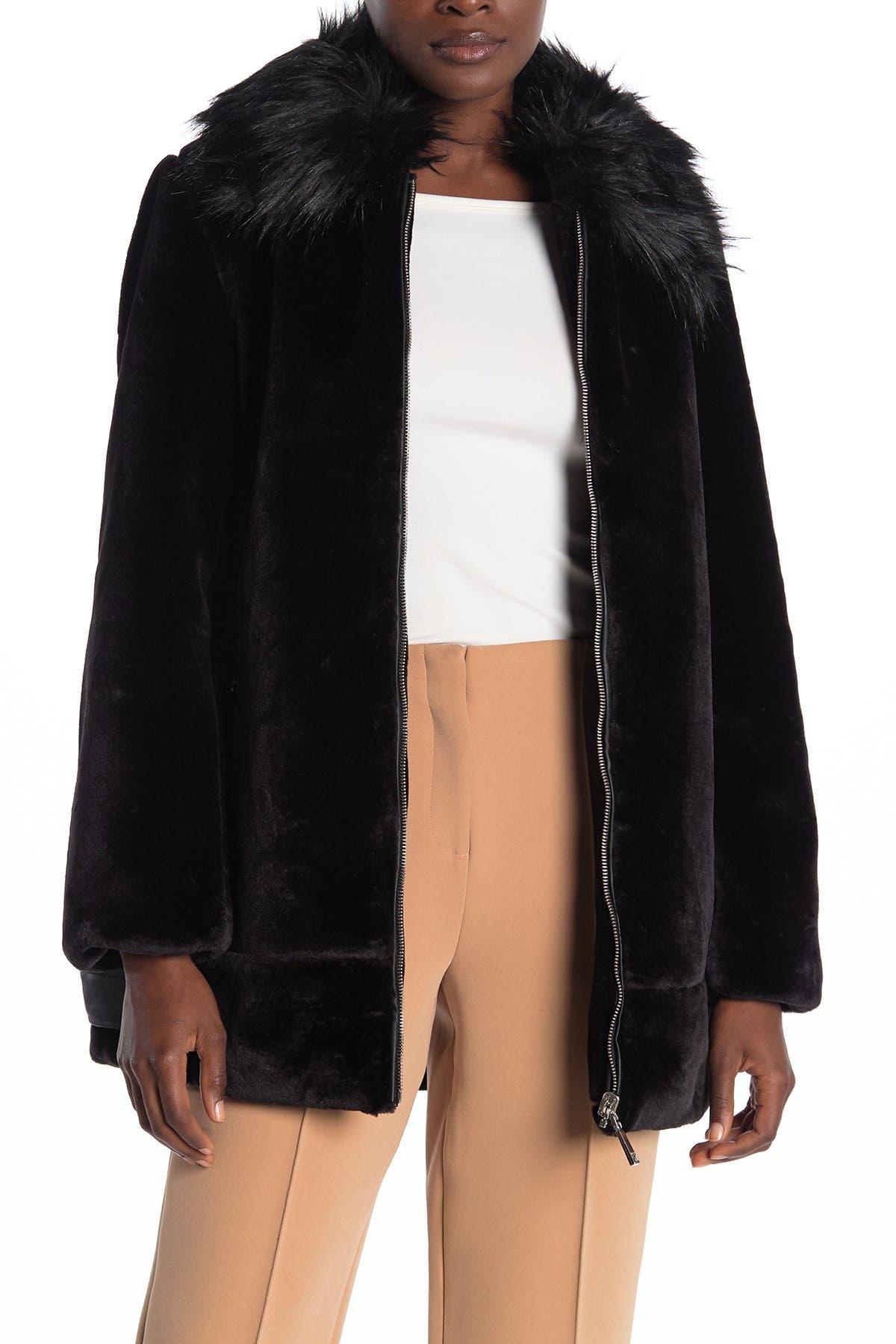 Nine West Faux Fur Collar Plush Fleece Coat