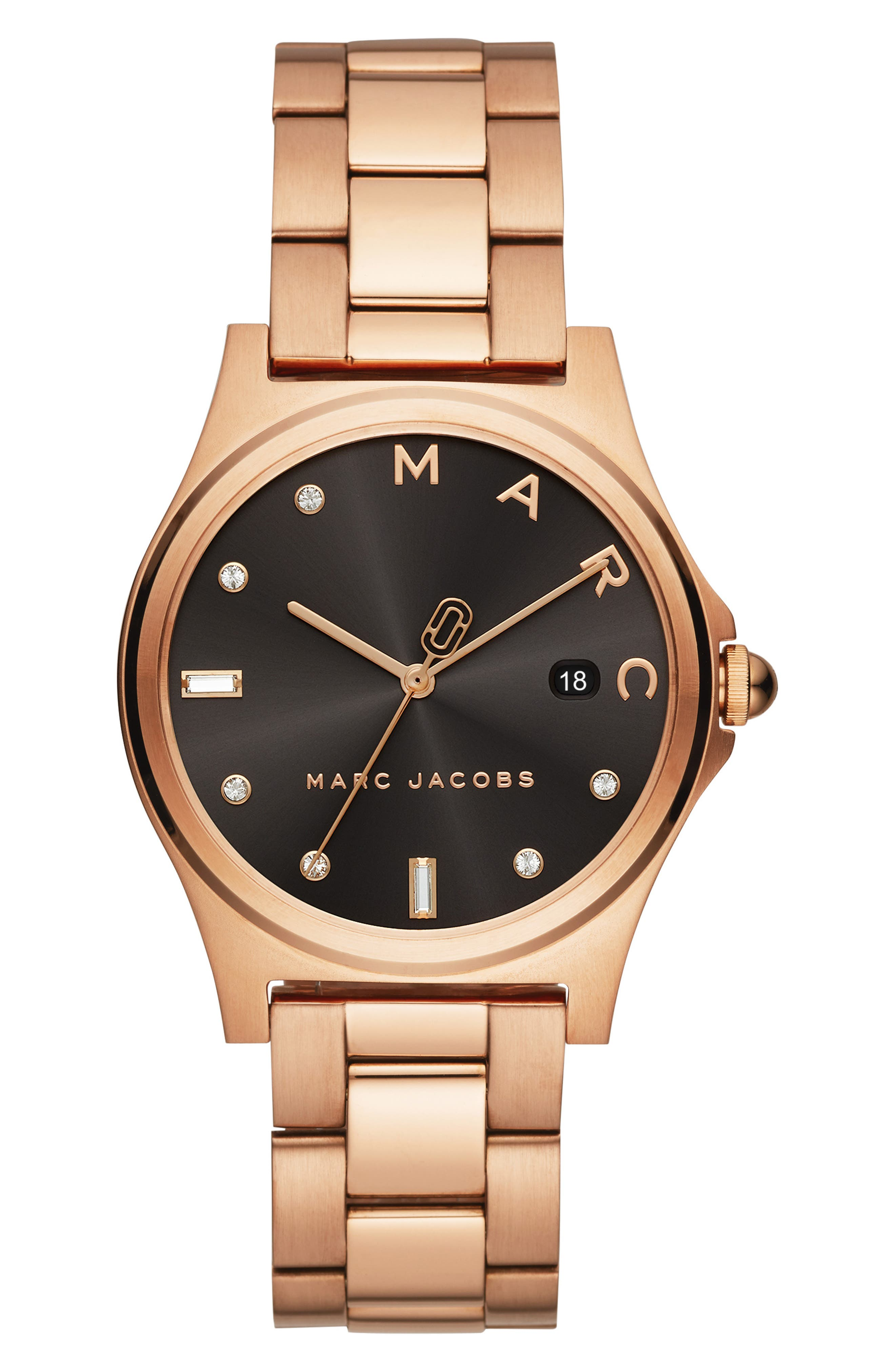 ,                             Henry Bracelet Watch, 36mm,                             Main thumbnail 1, color,                             ROSE GOLD/ BLACK/ ROSE GOLD