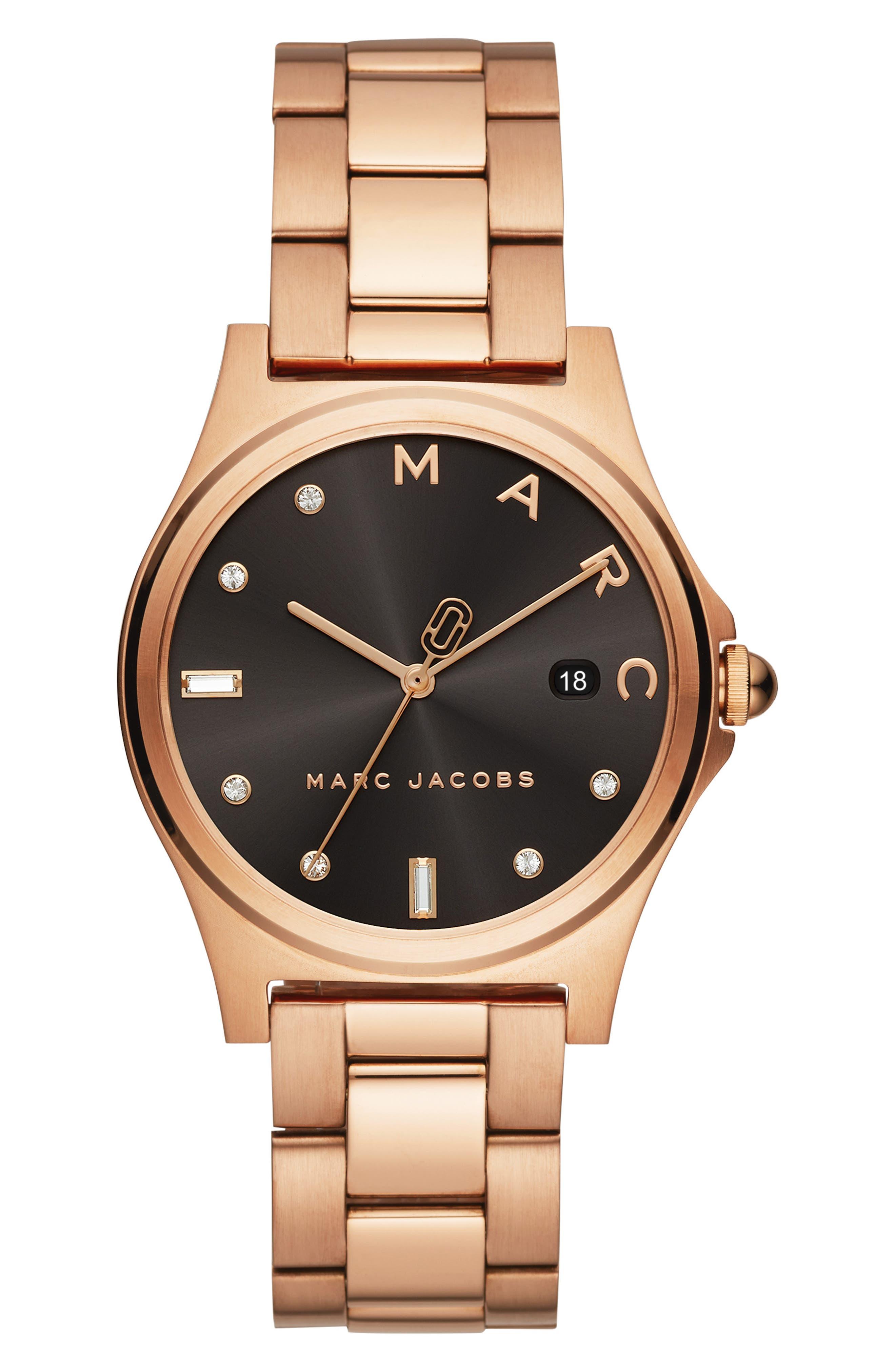 Henry Bracelet Watch, 36mm, Main, color, ROSE GOLD/ BLACK/ ROSE GOLD